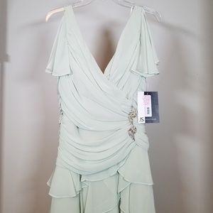 Pale Green Bridesmaid Formal Ruffle Dress